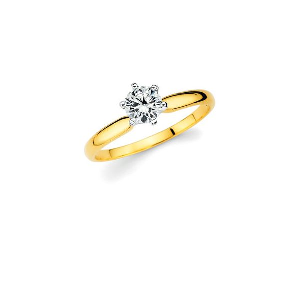 14k White And Yellow Gold Engagement Ring - Classic Bridal: Diamond Ring available for 1/3 Ct. Round Center Stone in 14K Gold Engagement ring and wedding band sold separately