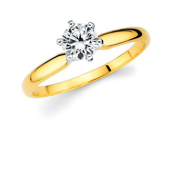 14k White Gold Engagement Ring - Classic Bridal: Diamond Ring available for 3/8 Ct. Round Center Stone in 14K Gold Engagement ring and wedding band sold separately
