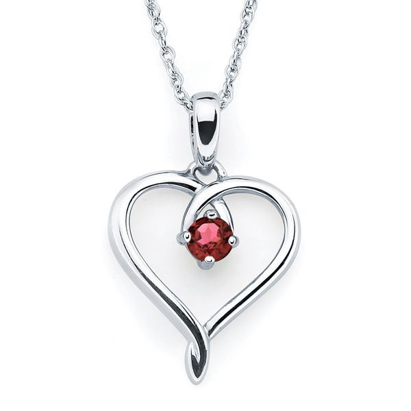 Sterling Silver Pendant - Heart Pendant with Simulated January Birthstone in Sterling Silver with 18