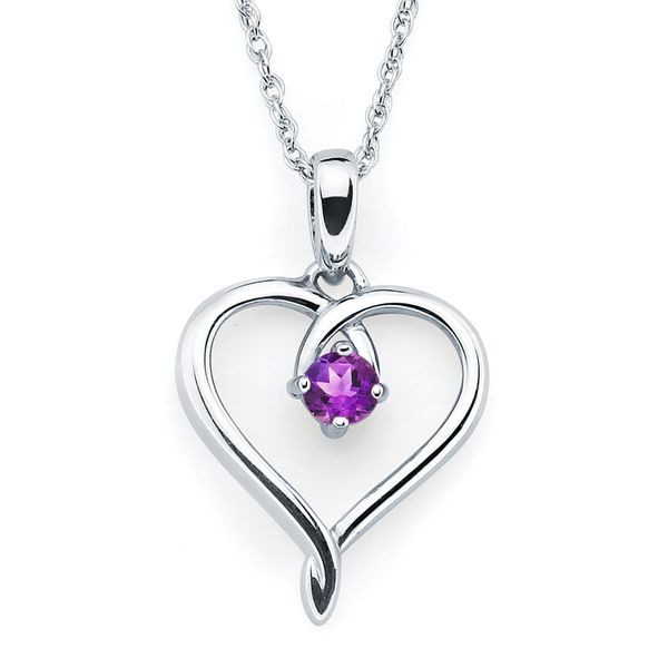 Sterling Silver Pendant - Heart Pendandt with Simulated February Birthstone in Sterling Silver with 18