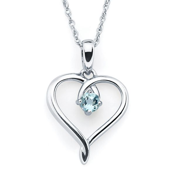 Sterling Silver Pendant - Heart Pendandt with Simulated March Birthstone in Sterling Silver with 18