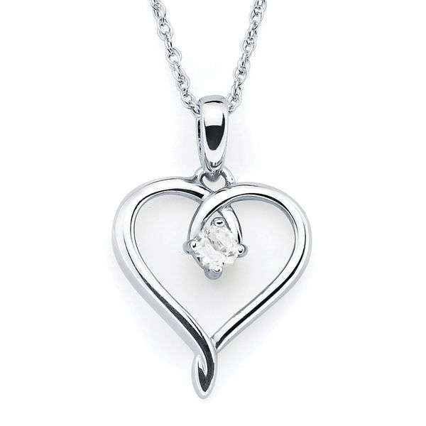 Sterling Silver Pendant - Heart Pendandt with Simulated April Birthstone in Sterling Silver with 18