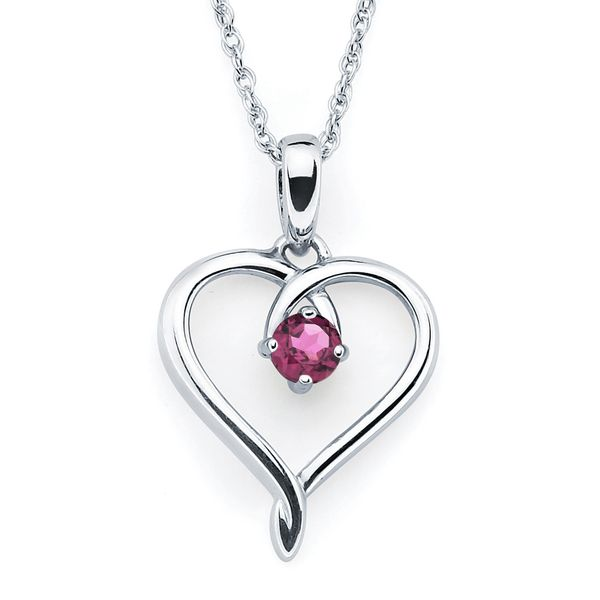 Sterling Silver Pendant - Heart Pendandt with Simulated June Birthstone in Sterling Silver with 18