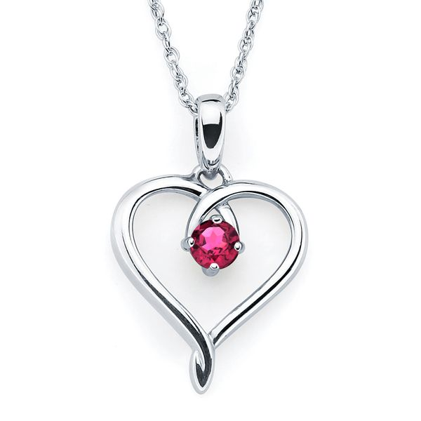 Sterling Silver Pendant - Heart Pendandt with Simulated July Birthstone in Sterling Silver with 18