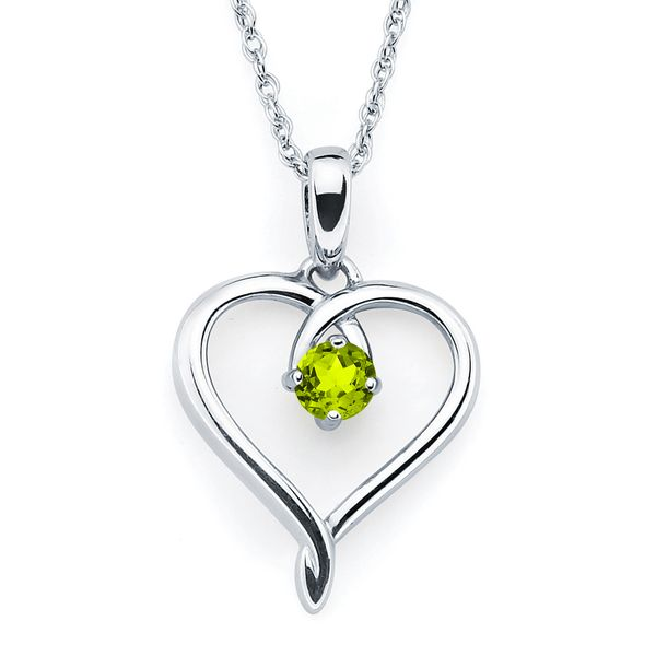 Sterling Silver Pendant - Heart Pendandt with Simulated August Birthstone in Sterling Silver with 18