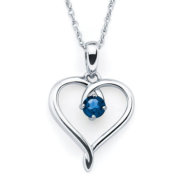 Sterling Silver Pendant - Heart Pendandt with Simulated September Birthstone in Sterling Silver with 18