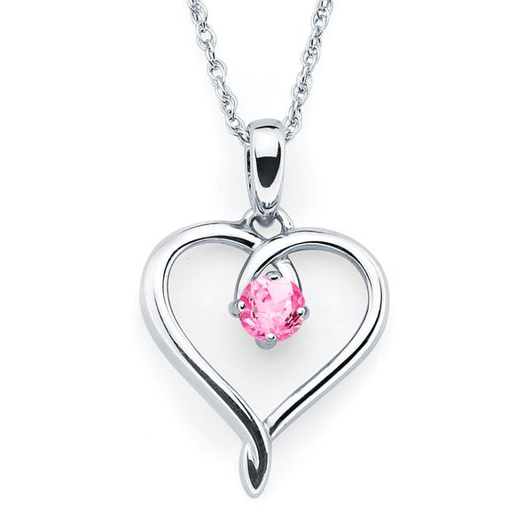 Sterling Silver Pendant - Heart Pendandt with Simulated October Birthstone in Sterling Silver with 18