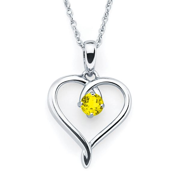Sterling Silver Pendant - Heart Pendandt  with Simulated November Birthstone in Sterling Silver with 18