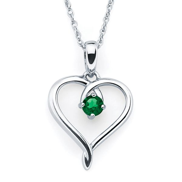 Sterling Silver Pendant - Heart Pendant with Created Emerald Birthstone in Sterling Silver (May) with 18