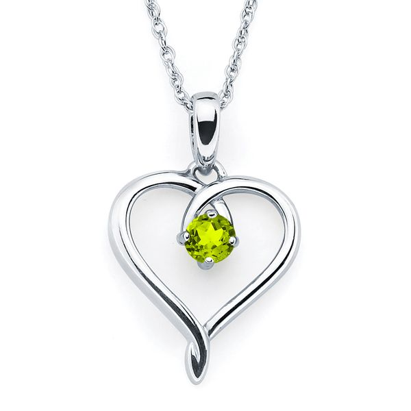 Sterling Silver Pendant - Heart Pendant with Peridot Birthstone in Sterling Silver (August) with 18