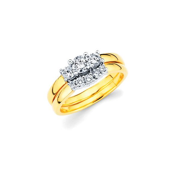 14k White And Yellow Gold Ring - 3/4 Ctw. Prong Set 3 Stone Diamond Anniversary Ring in 14K Gold