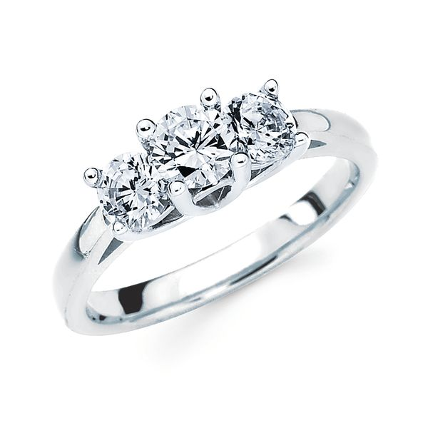 14k White Gold Engagement Ring - 1 Ctw. Prong Set 3 Stone Diamond Anniversary Ring in 14K Gold Center Dia .40CT 2 Side Dias .30CT EachEngagement ring and wedding band sold separately