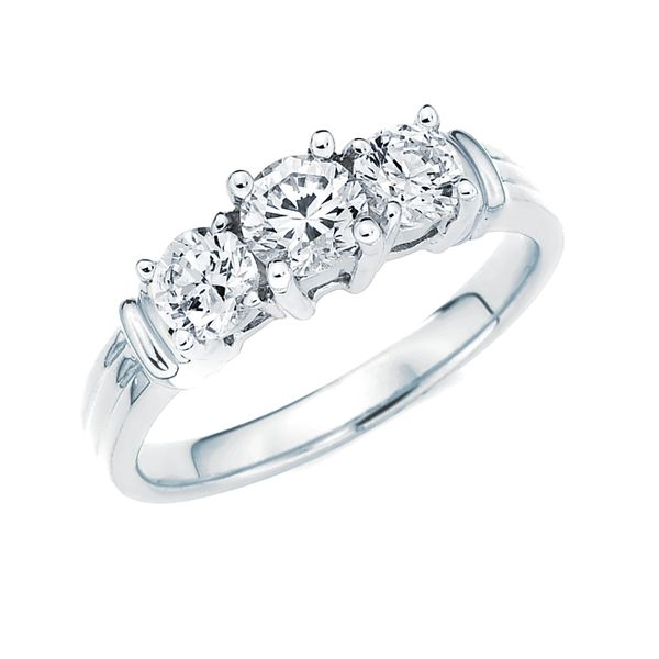 14k White And Yellow Gold Ring - 2 Ctw. Prong Set 3 Stone Diamond Anniversary Ring in 14K Gold