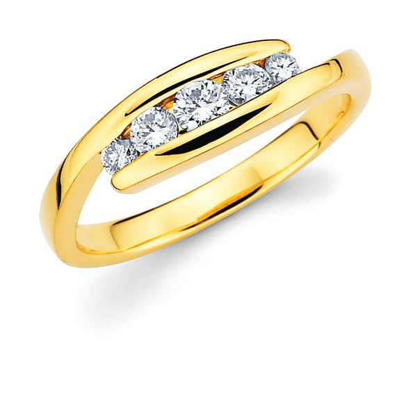 14K White Gold Anniversary Band - 1/5 Ctw. Channel Set 5 Stone Diamond Anniversary Ring in 14K Gold