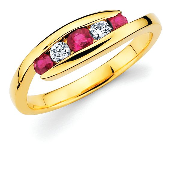 14K Yellow Gold Anniversary Band - 1/8 Tgw. Channel Set Ruby and Diamond Anniversary Ring in 14K Gold (Includes .07 Ctw. Diamonds)