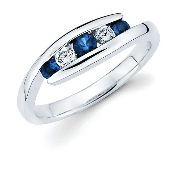 14K White Gold Anniversary Band - 1/8 Tgw. Channel Set Sapphire and Diamond Anniversary Ring in 14K Gold (Includes .07 Ctw. Diamonds)