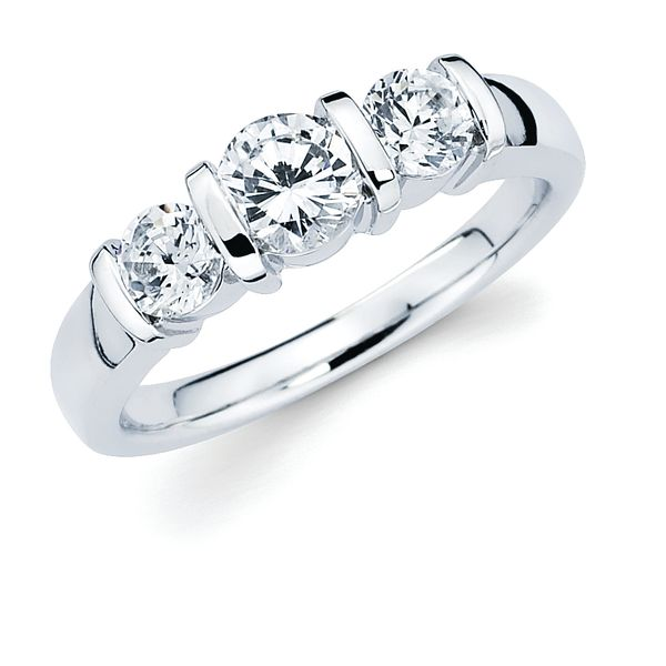 14k White Gold Ring - 1 Ctw. Channel Set 3 Stone Diamond Anniversary Ring in 14K Gold Center .50CT  2 Side Dias .25CT Each