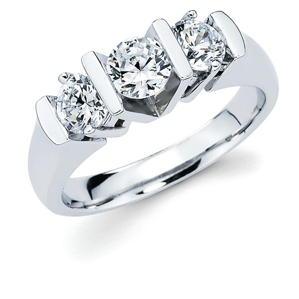 14k White Gold Ring - 1-1/2 Ctw. Prong & Channel Set 3 Stone Diamond Anniversary Ring in 14K Gold