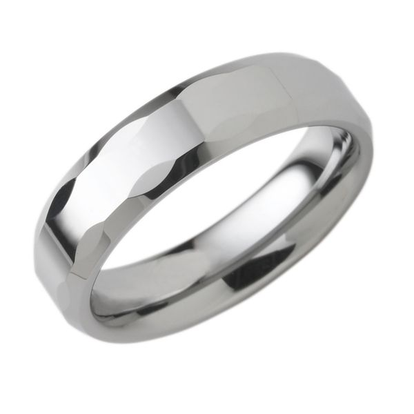 Tungsten Gold Ring - 6mm Tungsten Band with Textured Edge