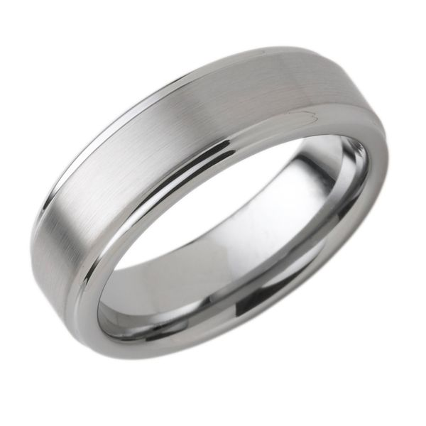 Tungsten Ring - 7mm Tungsten Band with Double Channel Accent