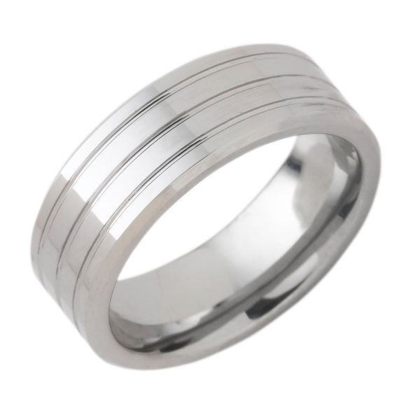 Tungsten Gold Ring - 8mm Tungsten Band with Triple Channel Accent