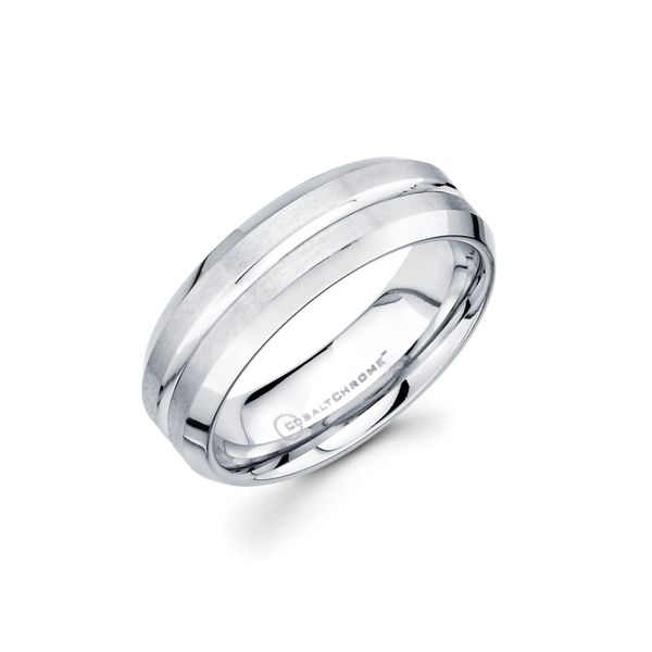Cobalt Chrome Men's Wedding Band - 7mm Cobalt Chrome Band with Center Channel Accent