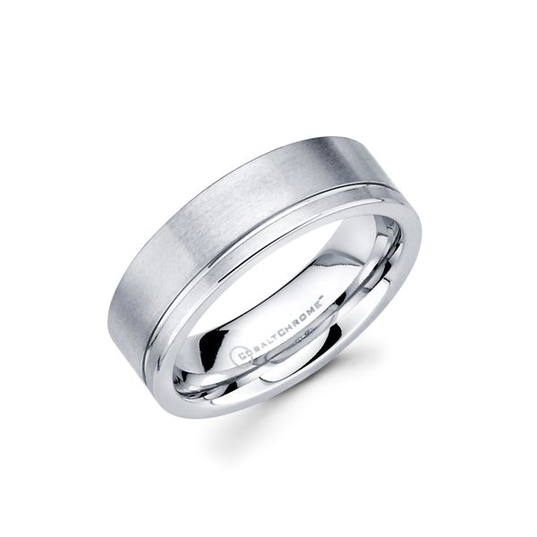 Cobalt Chrome Men's Wedding Band - 7mm Cobalt Chrome Band with Side Channel Accent