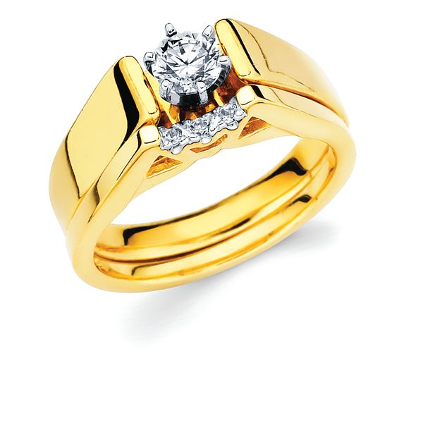 14k Yellow Gold Bridal Set - Classic Bridal: Diamond Ring shown with 1/3 Ct. Round Center Stone in 14K Gold .04 Ctw. Diamond Wedding Band in 14K Gold Items also available to purchase separately