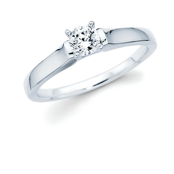 14k White Gold Engagement Ring - Classic Bridal: Diamond Ring shown with 1/3 Ct. Round Center Stone in 14K Gold Engagement ring and wedding band sold separately