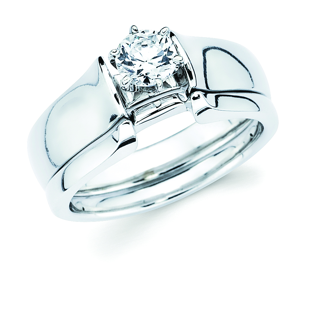 14k White Gold Engagement Set - Classic Bridal: Diamond Ring shown with 1/2 Ct. Round Center Stone in 14K Gold Wedding Band in 14K Gold Items also available to purchase separately