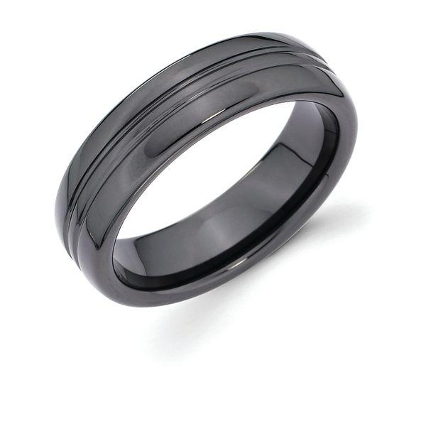 Ceramic Men's Wedding Band - 6mm Ceramic Band with Double Channel Accent