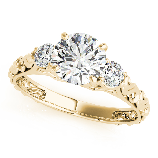 Engagement Rings - 18K Yellow Gold Three-Stone Round Engagement Ring df240e42a205