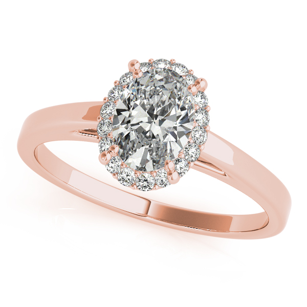 10K Rose Gold Oval Halo Engagement Ring