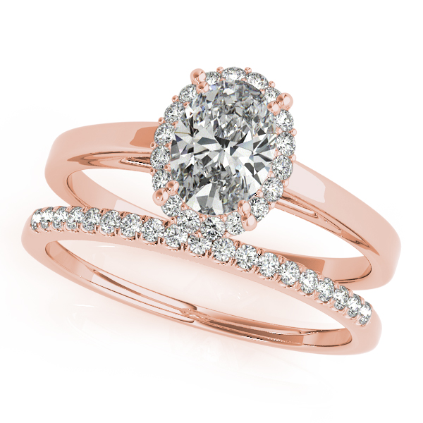 Engagement Rings - 18K Rose Gold Oval Halo Engagement Ring - image #3