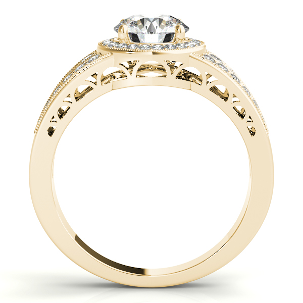 10K Yellow Gold Round Halo Engagement Ring Image 2 Goldrush Jewelers Marion, OH