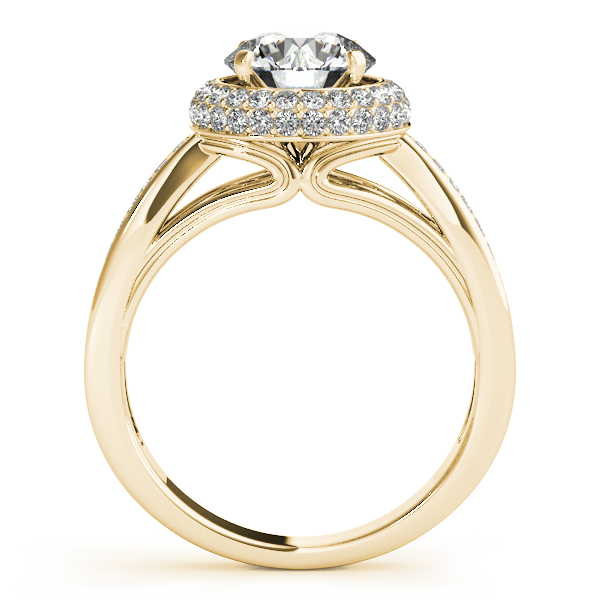 18K Yellow Gold Round Halo Engagement Ring Image 2 Goldrush Jewelers Marion, OH
