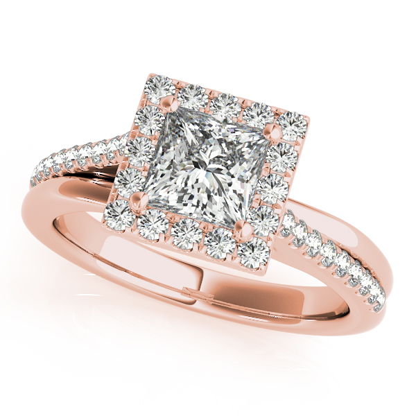 14K Rose Gold Halo Engagement Ring by Overnight