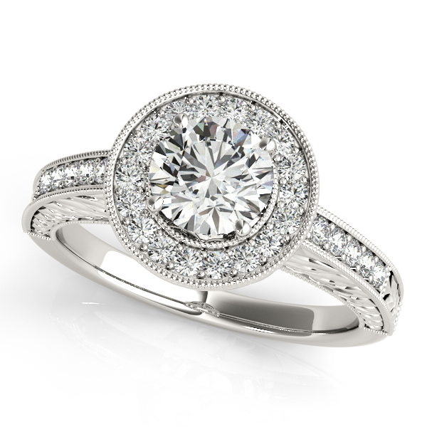 Engagement Rings - 18K White Gold Round Halo Engagement Ring