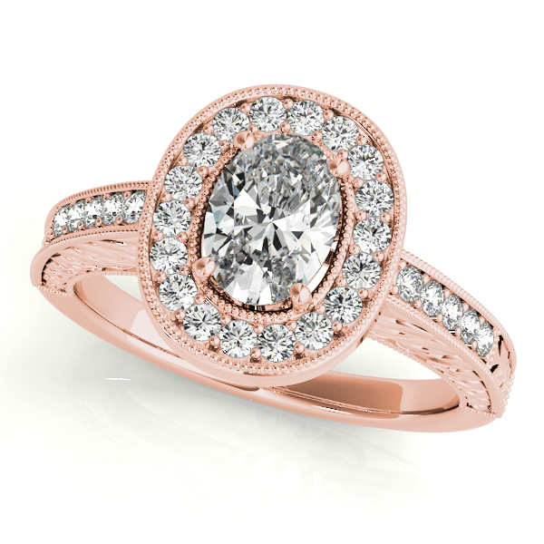 Engagement Rings - 14K Rose Gold Oval Halo Engagement Ring