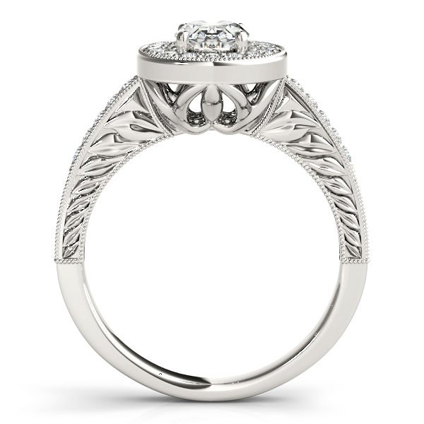Engagement Rings - 18K White Gold Oval Halo Engagement Ring - image #2