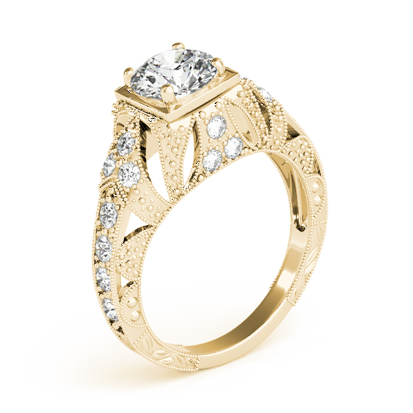 Engagement Rings - 10K Yellow Gold Antique Engagement Ring - image #3