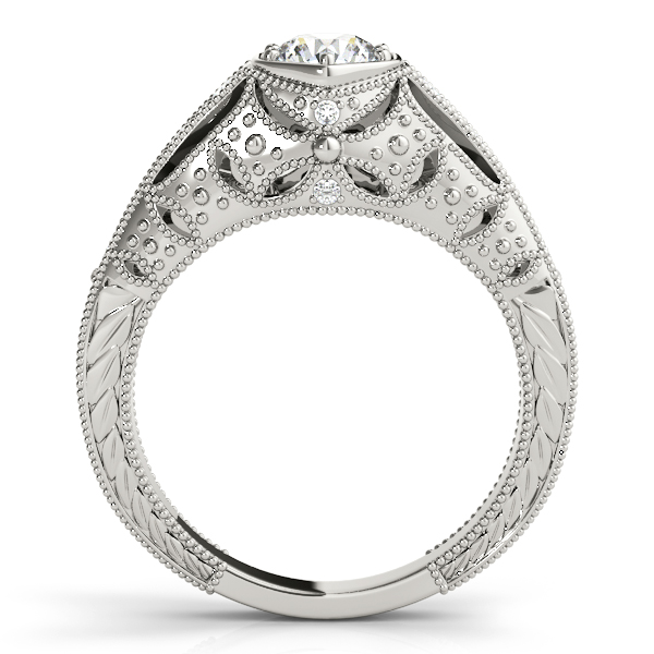 Engagement Rings - 18K White Gold Antique Engagement Ring - image #2