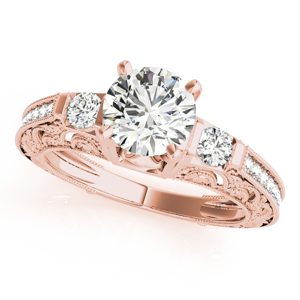 14K Rose Gold Antique Engagement Ring by Overnight