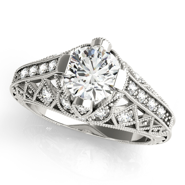 Engagement Rings - 18K White Gold Antique Engagement Ring