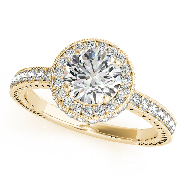 10K Yellow Gold Round Halo Engagement Ring by Overnight