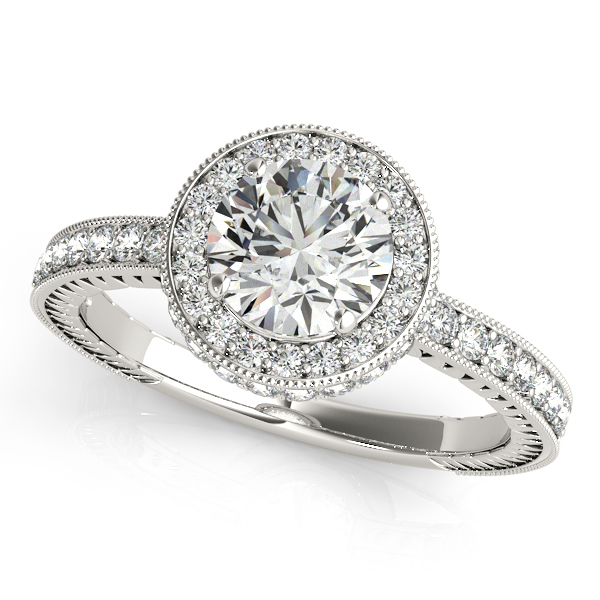 Engagement Rings - 10K White Gold Round Halo Engagement Ring
