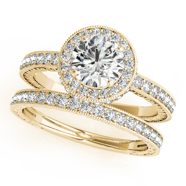 Engagement Rings - 10K Yellow Gold Round Halo Engagement Ring - image 3