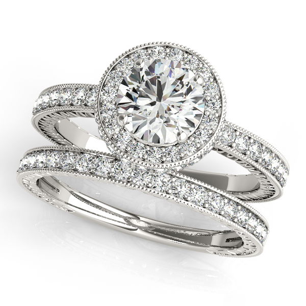 Engagement Rings - Platinum Round Halo Engagement Ring - image 3