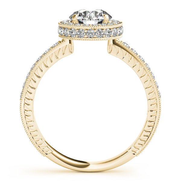 Engagement Rings - 10K Yellow Gold Round Halo Engagement Ring - image 2