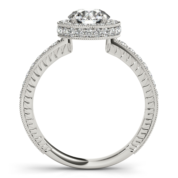 Engagement Rings - 18K White Gold Round Halo Engagement Ring - image #2
